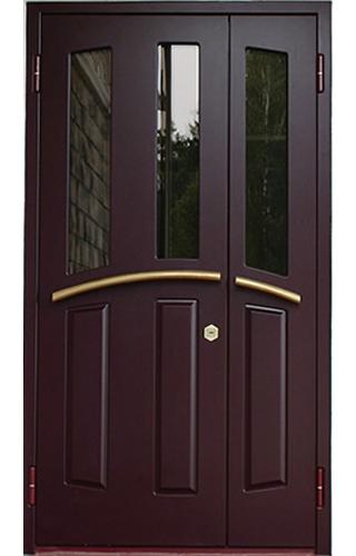 двойные распашные металлические входные двери со стеклом в наличии